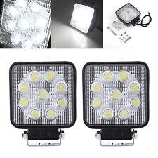 2x 27W LED WORK LIGHT Square FLOOD for Lighting 4WD OFFROAD SUV Jeep ATV 12V 24V
