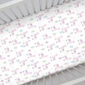"NoJo Super Soft Pink Llama Nursery Baby Crib Fitted Sheet 52"" x 28"""
