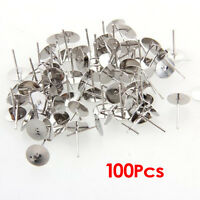 100 Silver Tone Flat Pad Earring Posts Studs DIY 8mm HOT HY