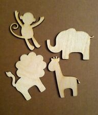 Pack of four Lasercut Wooden Baby Animal Shapes, Crafts