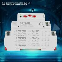 GRT8-M2 AC 220V Multifunctional Delay Time Relay 35mm DIN Rail Mount 50-60Hz