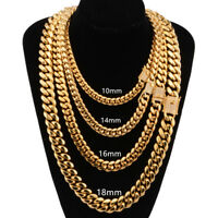 Cool Men's Cuban Miami Chain Necklace Bracelet 18K Gold Plated Stainless Steel