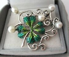 Solid Silver Enamel Lucky Four Leaf Clover Brooch Pendant With  Pearls