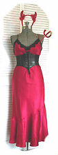 Women Sexy Devil Corset Dress Halloween Costume Set Red Horns Pitchfork Choker L