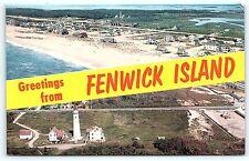 Postcard DE Fenwick Island Vintage Airview 2 Views Greetings Not Many Houses