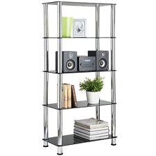 VonHaus 5-Tier Black Glass Shelving Unit / Bookcase with Chrome Legs