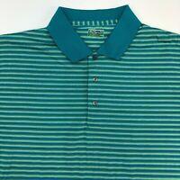 Ben Hogan Performance Polo Shirt Mens XXL Green Stripe Short Sleeve Casual Golf