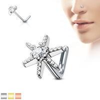CZ Starburst Surgical Steel L Bend Stud Nose Rings 20G