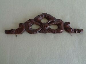 "Carved Dark Wood Topper Finial for Mirror Picture ? Salvage Piece 13 1/2"" Long"