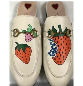 New $995 GUCCI Women's Princetown Strawberry Prints Mule Shoes EU 37/ US 7
