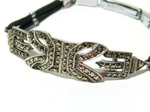Vintage French 935 Silver and Marcasite Art Deco Bracelet & Chrome Clasp