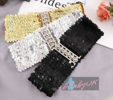 Ladies Womens Fashion Sequins Elastic Stretch Shiny Waist Band Belt - 3 Colours