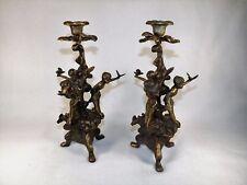 Finest Candlesticks 19th C. Victorian Carved Solid Brass Cherubs Doves Sculpture