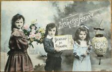 Bergeret 1904 French Fantasy New Year Postcard - Children & Paper Lantern