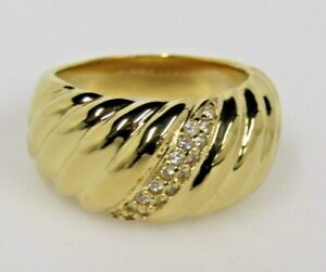 Stainless Steel Wave Design Ring Goldtone Sz 6