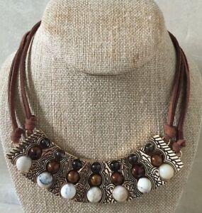Barse Necklace, Genuine African Opal, Bronzite, Smoky Quartz w/ Bronze & Leather