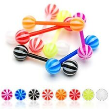 8 lot FLEXIBLE Bar CANDY UV BARBELL TONGUE RINGS Body Piercing Jewelry