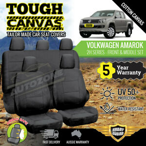 CANVAS Seat Covers for VOLKSWAGEN AMAROK 2H Dual Cab 02/2011 - On  2Rows BLACK