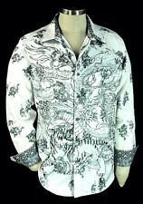 Robert Graham Dragonheart NWT $298 White Embroidered Dragon Tiger Fight 2XL