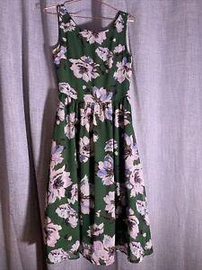 Temt Green Floral Midi Dress - 8 - Lined - Zip At Back