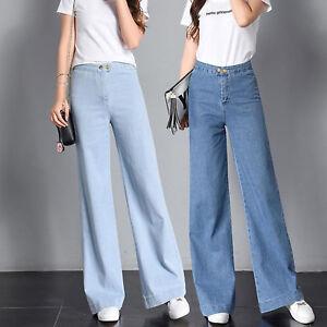 Autumn Youth Women Retro Slim High Waist Denim Pants Jeans Wide Leg Trousers