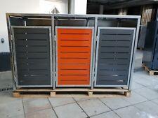 Mülltonnen Box Metall für 3 Mülltonnen, Unterstand, Mülltonnenhaus rot,