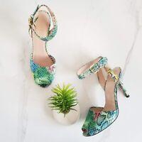 Stuart Weitzman Peep Toe Sandals Rainbow Snake Skin Print Heels Ankle Strap Sz 8