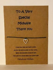 'Special Midwife' Thank You Wish Bracelet Gift! Tibetan Silver Heart Charm!