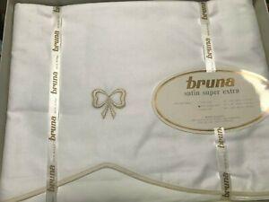 New BRUNA PARIGI Satin Super White Full Queen Flat Top Sheet 280 TC Italy $500