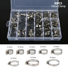 80pcs Stainless Steel Adjustable Range Worm Gear Hose Clamps Kit 8-44mm 8 Size !