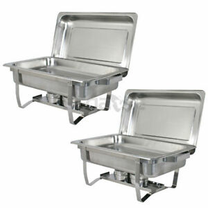 2 Pack of 8 Quart Stainless Steel Rectangular Chafing Dish Full Size New