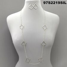 Elegant Style Cut Out Clover Charms Silver Finish Long Necklace Set & Earrings