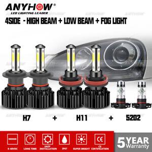 6X H7+H11+5202 Hi-Lo Beam + Fog LED Headlight Bulbs Kit For 2007-2012 GMC Acadia