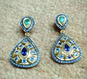 Blue Sapphire And Emerald Earring, Kyanite Diamond With Sterling Silver Earrings