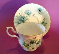 Royal Albert Teacup And Saucer - Blue Marguerite Daisies - Bone China - England