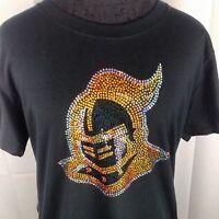 Women/'s Notre Dame Fighting Irish spangle Rhinestone Football T Shirt Lady