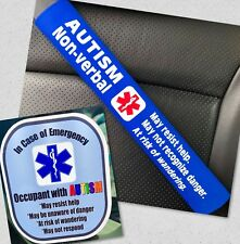 Autism Non-verbal Seat Belt Cover and Window Decal Set Royal Blue