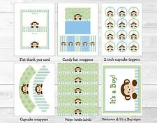 Baby Boy Monkey Blue Jungle Safari Printable Baby Shower Party Package