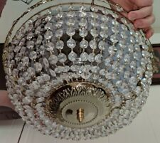 "Gorgeous 13 1/2"" Swarovski Crystal Basket 3 Light Flush Mount Chandelier"