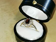 Retro Garnet Fashion Ring, Hallmarked 9ct gold, Free Insured shipping #Lg