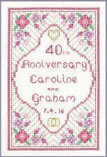 Ruby Anniversary Sampler - 40th anniversary complete cross stitch kit on 14 aida