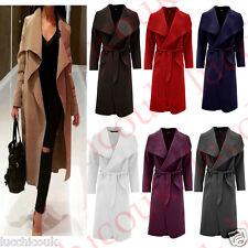 Ladies Belted Long Sleeve Italian Wool Cape Trench Waterfall Drape Coat Top
