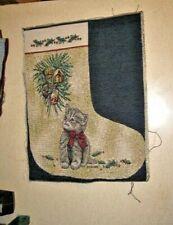 Cat - Little Gray Kitten Christmas Stocking Tapestry Fabric Piece