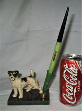 Antique Hubley Usa Cast Iron Fox Terrier Dog Paperweight Bakelite Pen Art Holder
