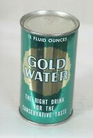 1964 Straight Steel Gold Water 12 FL OZ Flat Top Soda Can - Really Nice