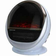 1.5KW Electric Fire Oval Shape Flame Effect Free Stand Fireplace Portable White