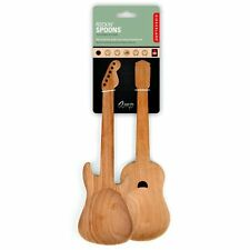 Kikkerland ROCKING GUITAR Spoons SALAD SERVING Wooden SPOONS - Set of 2