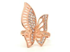 Butterfly rose gold plated big wings sparkly white gems ladies ring gift box bag
