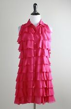 SAMUEL DONG NWT $138 Tiered Ruffle Mini Sleeveless Dress in Raspberry Size Small