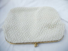 Vintage 60s Corde Bead White & Clear Beaded Fold Over Clutch - Good Condition
